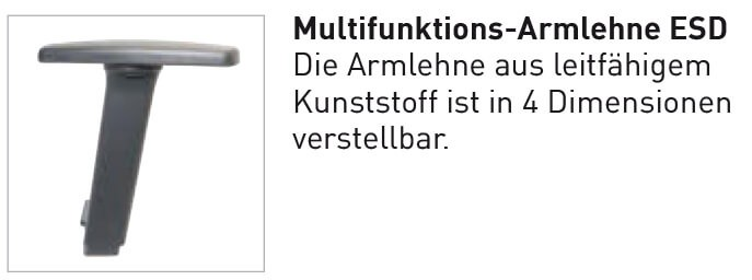Multifunktionsarmlehne Bimos ESD Basic reine Option bei Neukauf eines Stuhls
